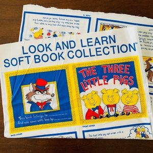Vintage Fabric 3 Little Pigs Story Quilt DIY Book
